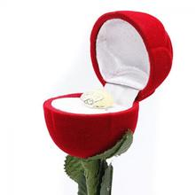 HOT SALE Red Rose Flower Romantic Ring Earrings Pendant Jewelry Display Gift Box Valentine Wedding Nice Gift