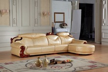 European leather sofa set living room sofa China L shape corner sofa wooden frame