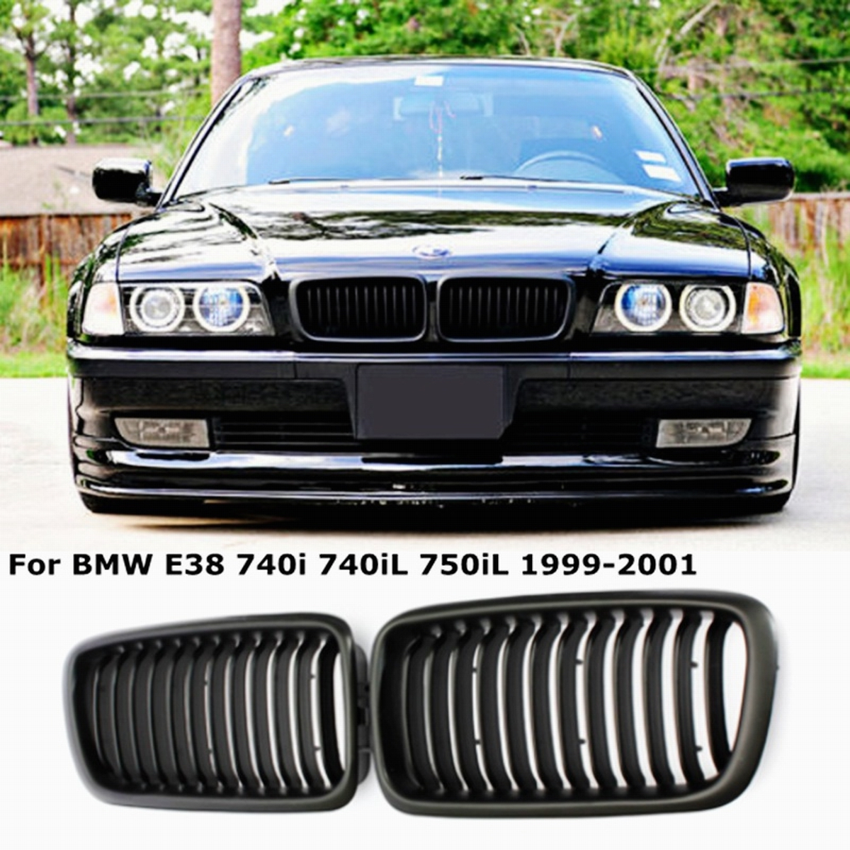 Chrome Front Kidney Grille Compatible with 1995-2001 BMW E38 740i 740iL 750iL Sedan 4 Door