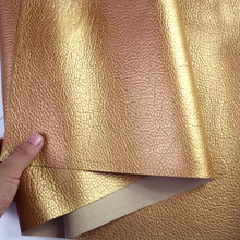 138*100cm 0.7mm thickness gold  Large litchi pattern Faux Leather Fabric for Sewing, PU artificial leather for DIY bag material