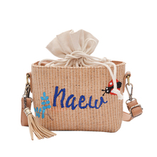 Korea Cool girl character embroidery cute cherry ball ball shoulder bag straw bags beach bags Resort 356