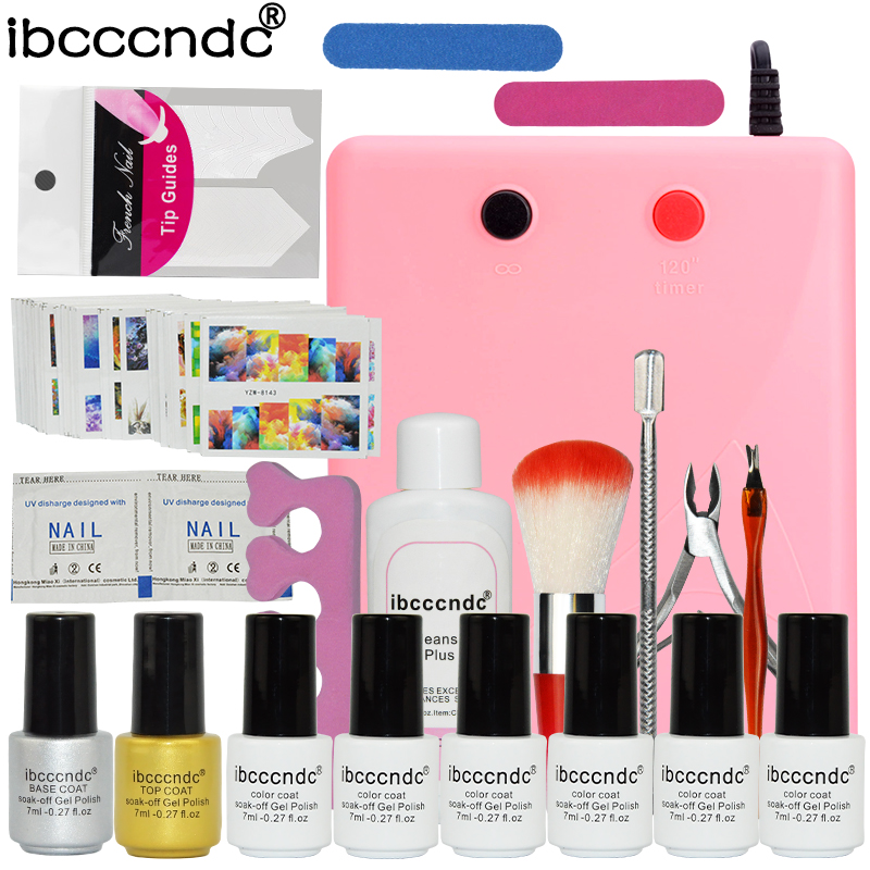 Nail Art Set Manicure Tools 36W UV Lamp 6 Color 7ml Soak Off Gel Nail Base Gel Top Coat Polish with Remover Practice Finger Kit<br>