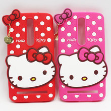 New Lovely Cute Cartoon Bowknot Dot Hello Kitty Soft Silicone Back Cover Case For Asus Zenfone 5 6 Zenfone 2 ZE550ML / ZE551ML(China)