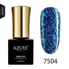 AZURE BEAUTY Glitter Gel Nail Polish Gorgeous Colors UV Gel Led Nail Polish Lacquer Blue Diamond Azure Nail Gel Polish(China)