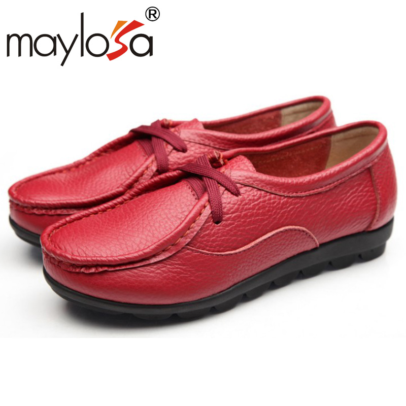Women Genuine Leather Flat Shoes Thick Rubber Sole Casual Lace Up Flats Fashion Oxford Shoes<br><br>Aliexpress