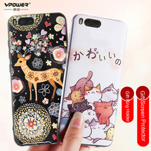 Vpower Xiaomi mi6 mi 6 Case 3D Stereo Relief Painted soft tpu cartoon Cases Back Covers For xiaomi mi6 +full glass screen film(China)