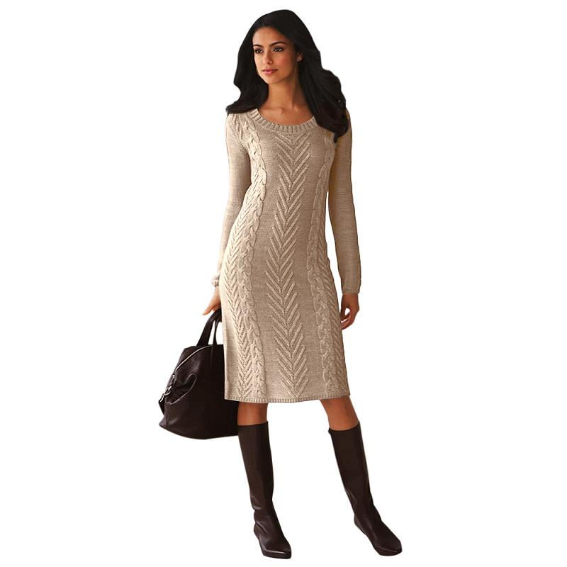 ADEWEL 2018 Spring Women Long Sleeve Bodycon Sweater Dress Casual Hand Knitted Midi Dress Elegant Inner Wear Womens Dresses (4)