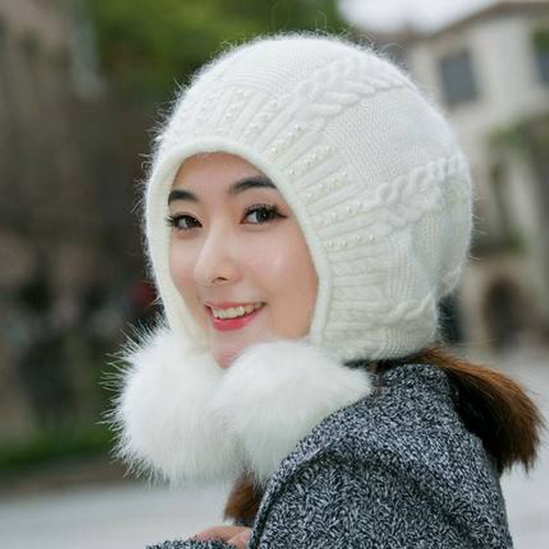Hat female autumn and winter knitted hat knitted hat casual all-match sweet rabbit fur knit female hat warm winter knitting capsОдежда и ак�е��уары<br><br><br>Aliexpress