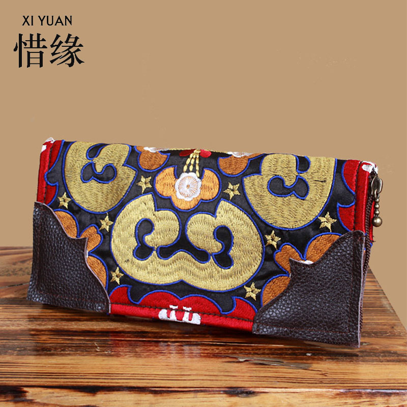 XIYUAN BRAND fashion soft women wallet Genuine Leather purse zipper wallet woman ladies handbags hand embroidery purse ethnic<br>