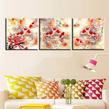 xh35 3 pcs Canvas Art Koi Fish Lotus Goldand Chinese Oil Painting Feng Shui Wall Pictures for Living Room