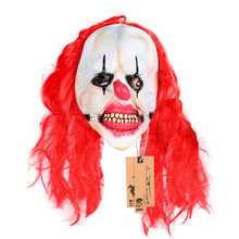 H&D Scary Killer Clown Mask with Red Hair Ghost Movie Mask Halloween Props Costumes Fancy Dress