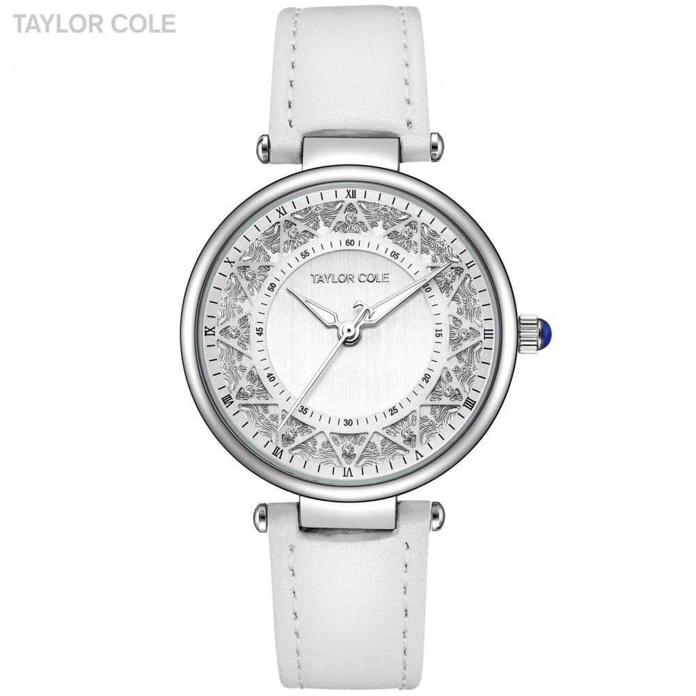 Taylor Cole Silver Women Watches Orologio Donna White Leather Strap Saat Japan Quartz Clock Dress Watches Relogio Feminino/TC107<br>