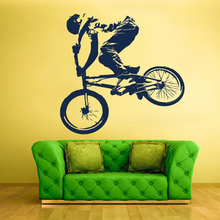 Free Shipping Playing Bike Boy Wall Decal Vinyl Sticker Decals Bike Cycle BMX Bicycle Jump Boys Room Decoration Size 59X57cm