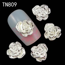10pcs Glitter Silver Rhinestones Rose 3d Nail Art Decorations, Alloy Nail Sticker Charms Jewelry for Nail Polish Tools TN809
