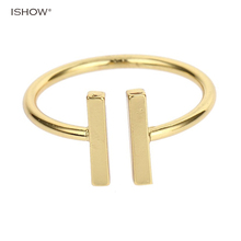 New Women Men Rings Gold-color  Copper ar Open BDouble Parallel Engagement Golden Lot Minimalist Jewelry T Anel feminino