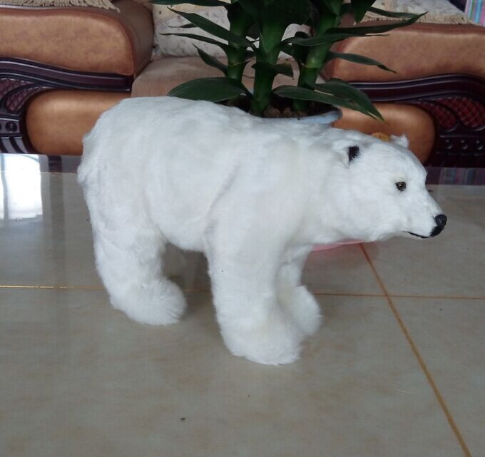 big cute simulation polar bear toy handicraft lovely white polar bear doll gift about 31x18cm(China)