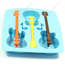 Silicone Guitar Shaped Cube Trays Ice Candy Mold Maker Bar Drinking Free Shipping(China)