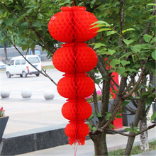 4pcs Celebrating Red Chinese Paper Lanterns Tissue Hanging Honeycomb New Year Wedding Decoration Party Supplies Handmade Craft