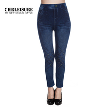 CHRLEISURE Denim Leggings Pants Elastic High Waist Knee Printing Women Trousers 2017 Large Size Fake Jeans Leggings Jeggings