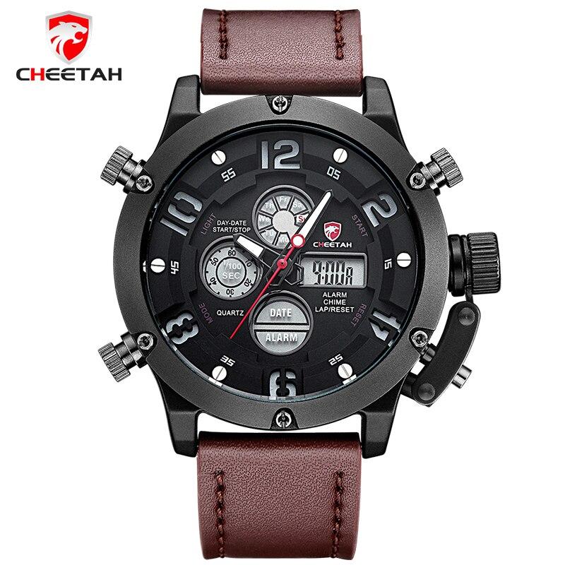 Top Brand CHEETAH Men Sports Watches Mens Quartz Luminous Digital LED Clock Man Leather Military Wrist Watch Relogio Masculino<br><br>Aliexpress