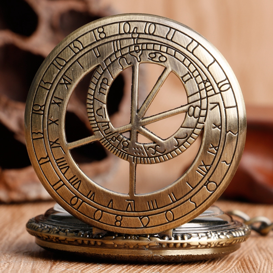 YISUYA Hollow Pendant Pocket Watch Men Prague Constellation Mechanical Hand Winding Copper Compass Women Christmas Xmas Gift (3)