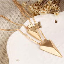 Buy Triangle Necklaces Double Sweater Chain Gold Pendants Choker Statement Charm Women Fashion Jewelry Accessories for $1.46 in AliExpress store