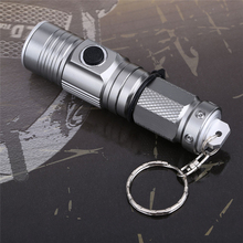 Silver 1300 Lumens LED Flashlight With a Key Ring  Mini Torch Portable Rechargeable Lantern for 16340 Battery