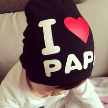 1Pcs I Love Papa Mama Print Baby Hats Knitted Warm Cotton Beanie Caps For Toddler Spring Autumn Baby Kids Girl Boy Hats