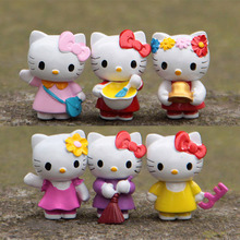 6pcs Floral Hello Kitty Fairy Garden Miniatures Terrarium Figurines Resin Bonsai Tool Jardin Gnomes Home Decoration Accessories