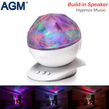 AGM Aurora Ocean Wave Projector Starry Sky LED Night Light 7 Colors Music Novelty Illusion Lamp USB Master Nightlight Baby Gifts(China)