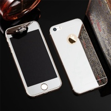 2 Pcs/Lot Front+Back Tempered Glass For iPhone 5 5s SE 6 6Plus 6s Plus Case Mirror Electroplating Screen Protective Film