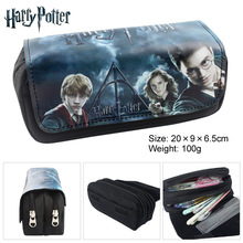 Harry Potter Anime Fabric Double Zipper Pencilcase Students Stationery Case Large Capaeity Pencil Bag Kids Gift