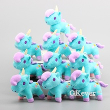"Anime 10 Pcs/Lot Little Twin Stars Unicorn Plush Pendant with Keychain Unicorn Soft Stuffed Dolls 5"" 12 CM Bag Decoration"