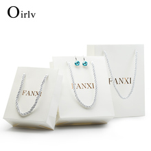 Oirlv Wholesale White Color Custom Logo Recycled Printed Paper Bags For Jewelry Gift Packaging Gift Paper Shopping Bag(China)