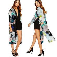 Women Kimono Cardigan Floral Retro Pattern Long Sleeve Lace-up Long Chiffon Blouse Shirts Casual Cape Shawl Blusas WT#T3