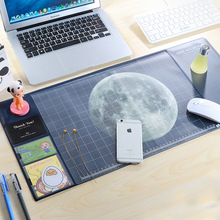 Cool Moon/Starry sky pattern plastic desk mouse mat school office supplies creative gift(China)