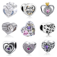 Buy New Arrival heart-shaped Charms Fits Original Pandora Bracelets 925 Sterling Silver Charm beads jewelry making women gift for $6.85 in AliExpress store