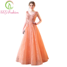 SSYFashion New Luxury Bride Evening Dress Sweet Light Orange V-neck Lace Flower Appliques Long Prom Formal Dresses Party Gowns(China)