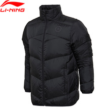 Li-Ning Men Wade Series Short Down Jacket Slim Fit AT PROOF WIND 90% Goose Leather LiNing Sports Winter Warm Coat AYMM065 MWY297(China)