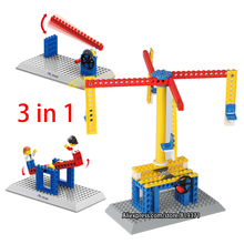 3 in 1 Teaching Aid Toys Windmill Merry Round Lift Toys Wange Kids Mechanical Building Blocks Compatible with legoeINGlys 1301(China)