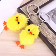 1Pcs Random Lovely Simulation Duck Cute Mink Fur Yellow Duck Quacks Animal Key Ring Accessory Toy Gift