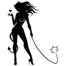 10.2*12.7CM Sexy Devil Girl Personal Car Styling Decorative Sticker Classic Fashion Window Glass Decals C4-0366