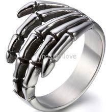 Men Jewelry Vintage Style Stainless Steel Gothic Skull Hand Mens Ring Choppers Band Motorcycle Rings