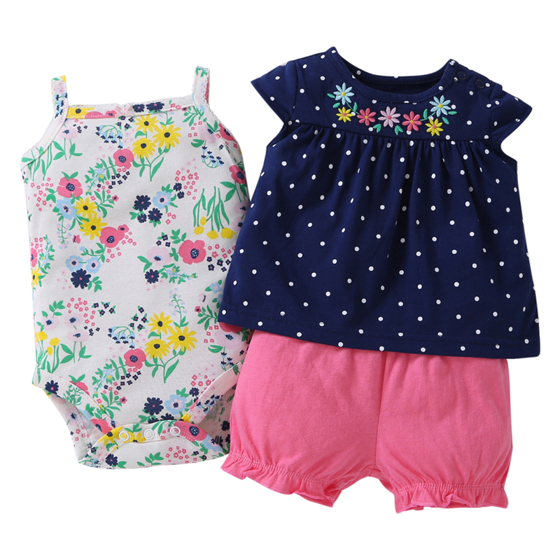 free ship kids bebes  Baby girl clothes set kids bebes clothing summer set red colors floral baby romper style Sets bodysuit