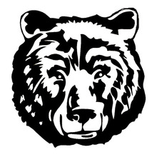 14.4*15CM Wild Big Bear Head Car Stickers Creative Car Styling Decal Animal Accessories Black/Silver C9-1868(China)