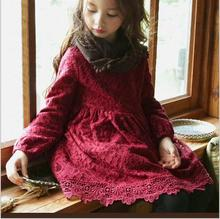 Girl Winter Lace Dresses Cotton Thickening Kids Christmas Dress Red Black Long Sleeve Princess Party Dress Childrens Clothes