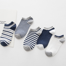 The Leisure Flat And Stripe Men's Invisible Cotton Sock Clear Sea Blue Color Male Short Sock Comfortable Soft No Limited Sox(China)