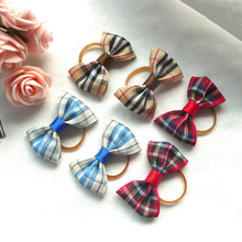 2 PCS Handmade Plaid Pet Hair Bows Elastic Dog Headwear Cat Hairdress Puppy Chihuahua Grooming Hair Accessories Wholesales(China)
