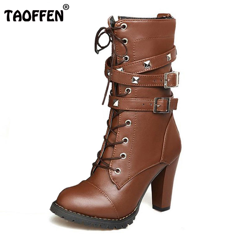 TAOFFEN Ladies shoes Women boots High heels Platform Buckle Zipper Rivets Sapatos femininos Lace up Leather boots Size 34-43<br>