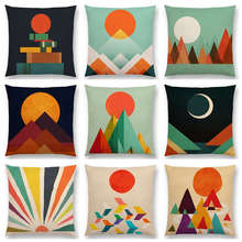 Great Sun Moon Colorful Mountain Gold Peaks Rivers Geometric Abstract Pattern Colorful Retro Cushion Cover Sofa Pillow Case(China)